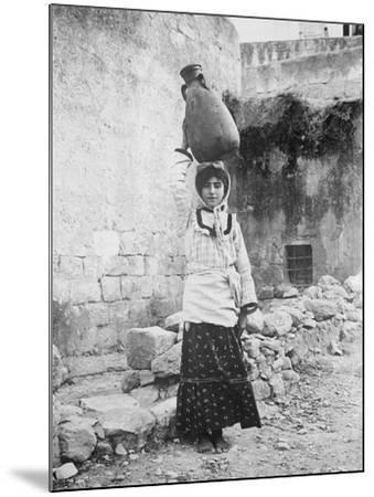 Water Carrier, Palestine--Mounted Photographic Print