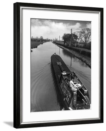 Canal Barge Couple--Framed Photographic Print
