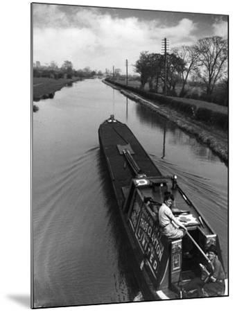 Canal Barge Couple--Mounted Photographic Print
