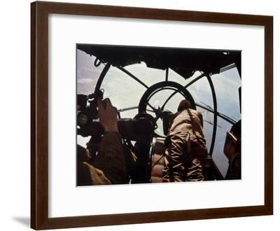 German Machine-Gunner in the Cockpit of a Bomber, Probably a Heinkel He-111-Unsere Wehrmacht-Framed Photographic Print