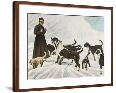 The Monks of Saint Bernard Together with Their Dogs Visit Tibet--Framed Photographic Print