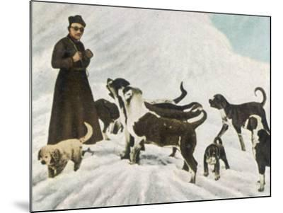 The Monks of Saint Bernard Together with Their Dogs Visit Tibet--Mounted Photographic Print