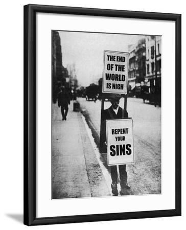 Sandwich Board Man Warns Us of Impending Doom--Framed Photographic Print