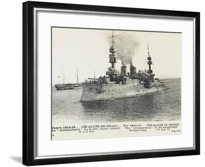 The French Warship Jaureguiberry - Dardanelles--Framed Photographic Print