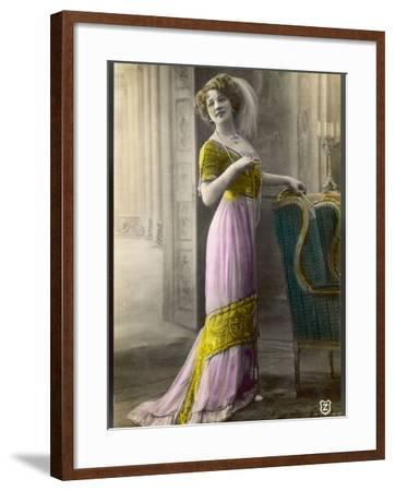 The Directoire, Empire Silhouette: High-Waisted Pink and Gold Gown with an Embroidered Corsage--Framed Photographic Print