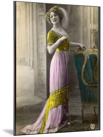 The Directoire, Empire Silhouette: High-Waisted Pink and Gold Gown with an Embroidered Corsage--Mounted Photographic Print