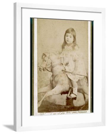 Eric James Age 3 Rides His Rocking Horse--Framed Photographic Print