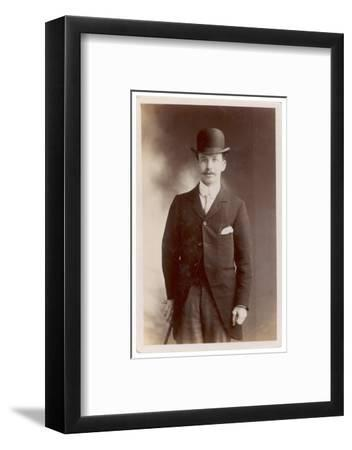 Young Man in Morning Coat, Bowler Hat and Cane: Perhaps an Office Clerk--Framed Photographic Print