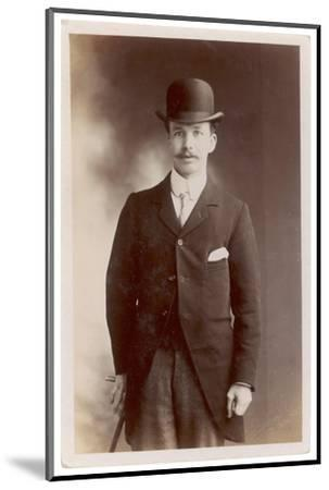 Young Man in Morning Coat, Bowler Hat and Cane: Perhaps an Office Clerk--Mounted Photographic Print