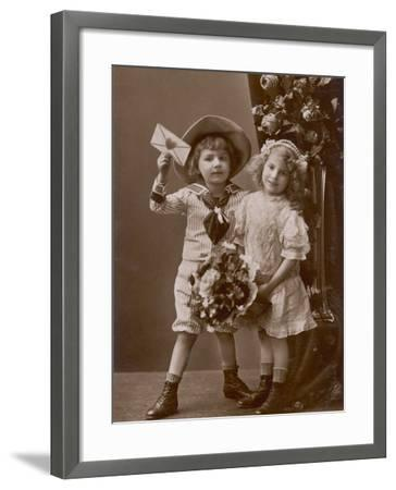 Two Children Carry a Love Letter, To My Little Sweetheart--Framed Photographic Print