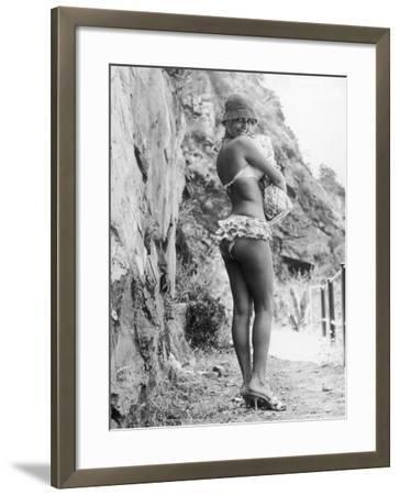 Girl in Bikini Walks Along a Cliff Path on a Fine Summer Day--Framed Photographic Print