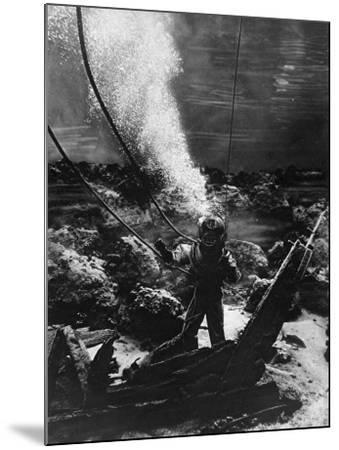 The First Photograph of a Diver at the Bottom of the Sea--Mounted Photographic Print