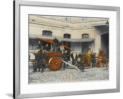 French Sapeurs-Pompiers Manoeuvre their Engines at the Scene of a Fire--Framed Photographic Print