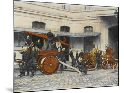 French Sapeurs-Pompiers Manoeuvre their Engines at the Scene of a Fire--Mounted Photographic Print