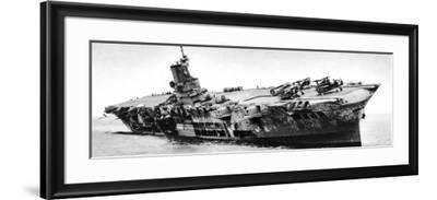 HMS 'Ark Royal' Listing to Starboard, Second World War, 1941--Framed Photographic Print