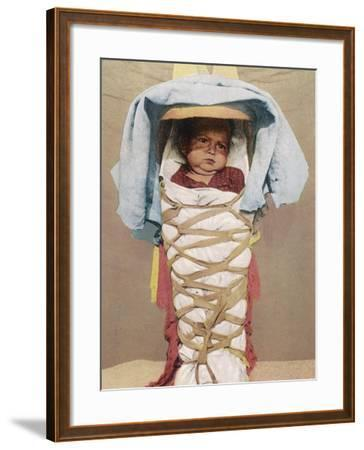 A Navaho Papoose of Arizona Swaddled in its Mother's Back-Pack--Framed Photographic Print