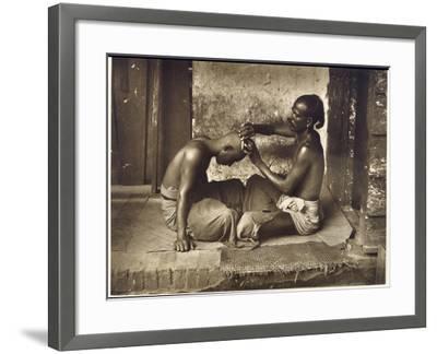 A Barber at Work in Ceylon (Sri Lanka)--Framed Photographic Print