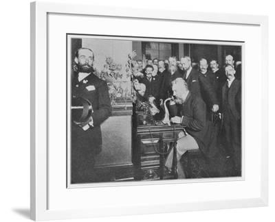 Alexander Graham Bell Inaugurates the Chicago-New York Long Distance Line--Framed Photographic Print