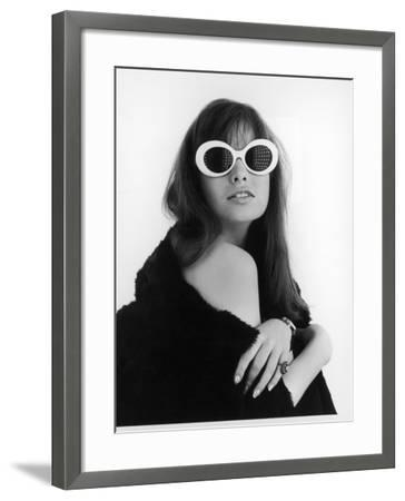 A Brunette Model Wears an Off the Shoulder Fur Coat and Fab Sunglasses!--Framed Photographic Print
