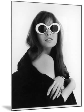 A Brunette Model Wears an Off the Shoulder Fur Coat and Fab Sunglasses!--Mounted Photographic Print