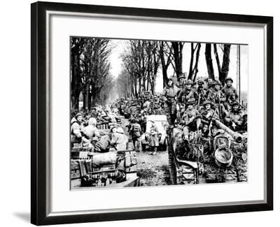 British Infantry and Tanks, Reichswald; World War Two, 1945--Framed Photographic Print