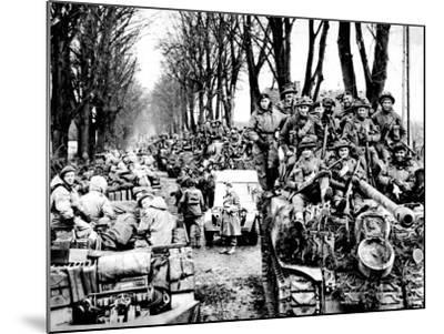 British Infantry and Tanks, Reichswald; World War Two, 1945--Mounted Photographic Print