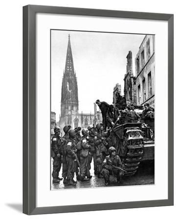 British and American Troops in Munster, Second World War--Framed Photographic Print