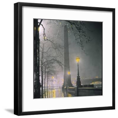 Cleopatra's Needle on the Embankment by Night--Framed Photographic Print