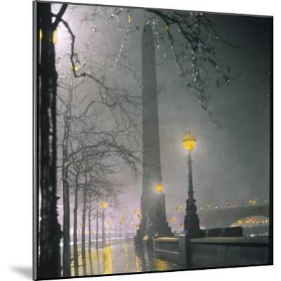Cleopatra's Needle on the Embankment by Night--Mounted Photographic Print
