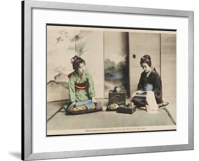 A Japanese Lady and Her Maidservant--Framed Photographic Print
