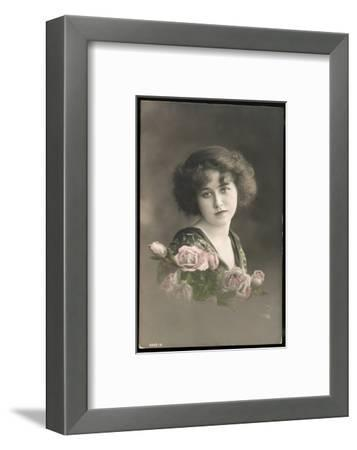 Beautiful Young Lady with Pink Roses--Framed Photographic Print