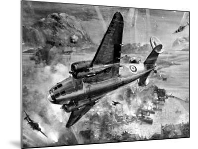 Lockheed 'Hudsons' Bombing Aalesund; Second World War, 1941--Mounted Photographic Print