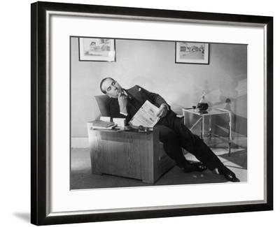 Man Relaxing with Pipe--Framed Photographic Print