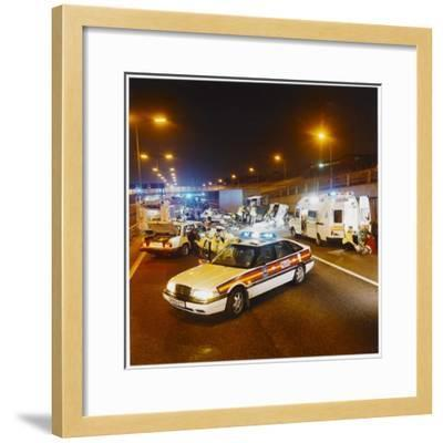 Metropolitan Police Car at the Scene of a Road Traffic Accident--Framed Photographic Print
