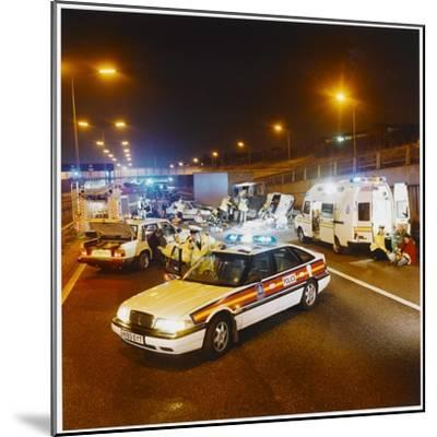 Metropolitan Police Car at the Scene of a Road Traffic Accident--Mounted Photographic Print