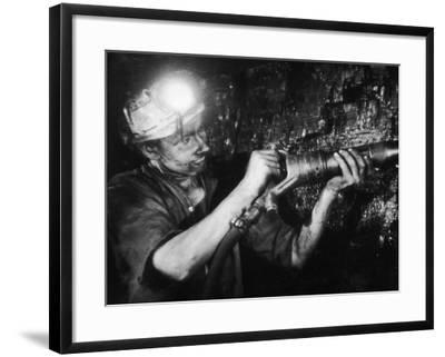 Miner Using an Hydraulic Drill at the Coal-Face, at Cape Bank Hall Pit, Burnley, in Lancashire-Henry Grant-Framed Photographic Print