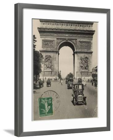 Paris: Arc De Triomphe with Early Cars--Framed Photographic Print