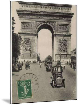 Paris: Arc De Triomphe with Early Cars--Mounted Photographic Print