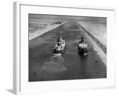 Ships in Suez Canal--Framed Photographic Print