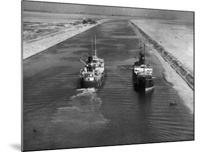 Ships in Suez Canal--Mounted Photographic Print