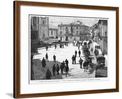 Piazza E Municipio at Monreale, at the Time of the 1894 Insurrection--Framed Photographic Print