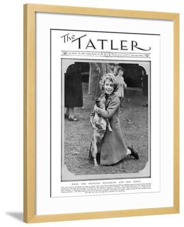 Princess Elizabeth and Her Corgi--Framed Photographic Print