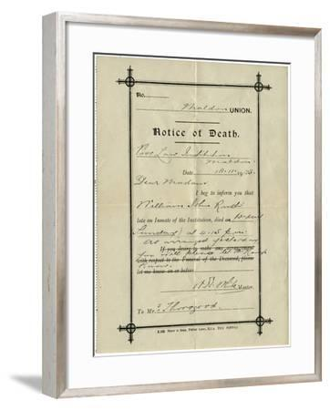 Notice of Death from Union Workhouse, Maldon, Essex-Peter Higginbotham-Framed Photographic Print