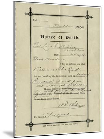 Notice of Death from Union Workhouse, Maldon, Essex-Peter Higginbotham-Mounted Photographic Print