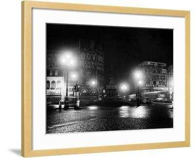 Lights Out in Piccadilly Circus, London, 1951--Framed Photographic Print