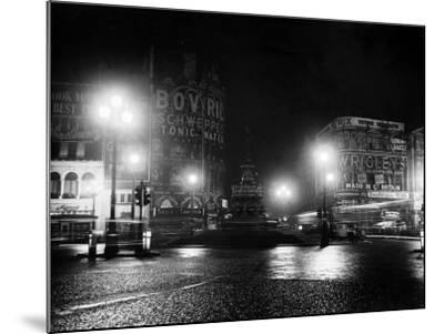 Lights Out in Piccadilly Circus, London, 1951--Mounted Photographic Print