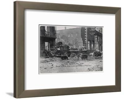 Ruined Sackville Street, Dublin, Barricaded with Motor Cars--Framed Photographic Print