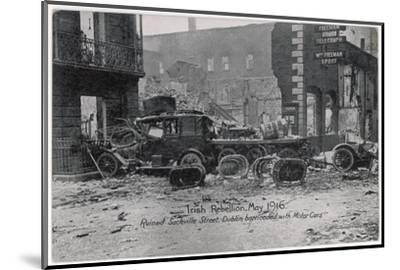 Ruined Sackville Street, Dublin, Barricaded with Motor Cars--Mounted Photographic Print