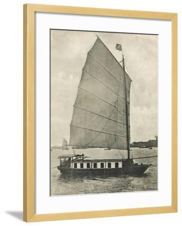 Shanghai, China - Junk Houseboat with the Traditional Wide Square-Shaped Sail--Framed Photographic Print