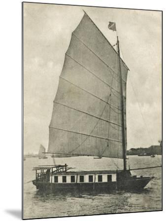 Shanghai, China - Junk Houseboat with the Traditional Wide Square-Shaped Sail--Mounted Photographic Print